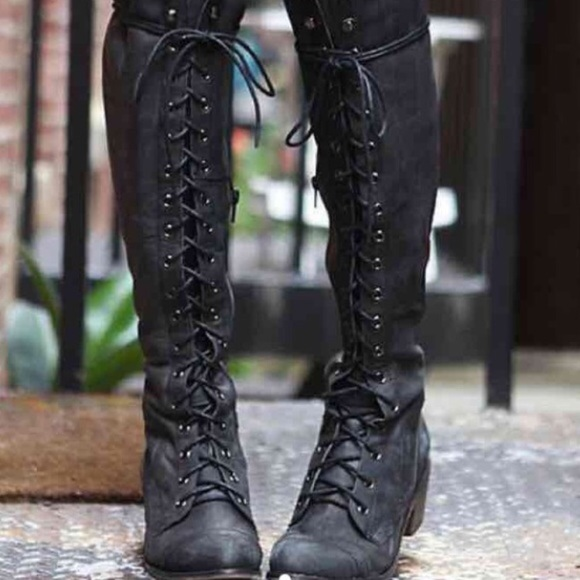 Black thigh high military lace up boots Boutique
