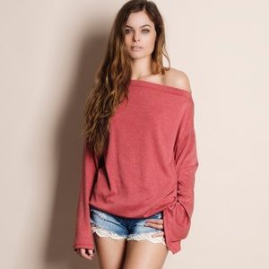 Bare Anthology Tops - Oversized Off Shoulder Sweater Top