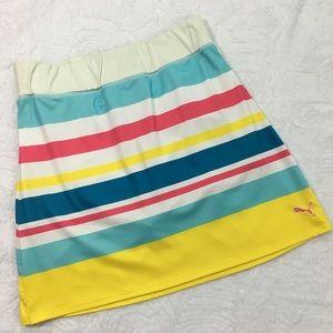 Puma Dresses & Skirts - Puma Striped Golf Athletic Skirt Pink/Blue/Yellow