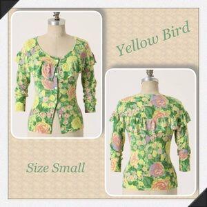 Yellow Bird COLORED PENCIL Cardigan Sweater Small