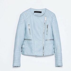 Zara Jackets & Coats - Zara baby blue leather jacket