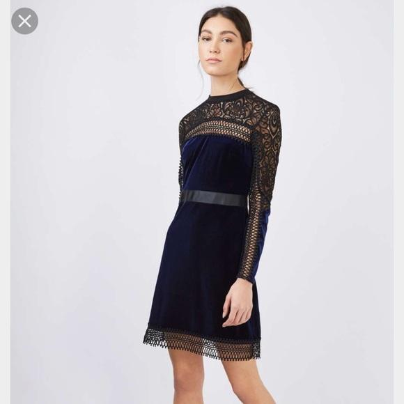 b6f6faebc Topshop Velvet Lace Trim Aline Dress 4