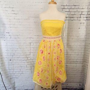 Cynthia Steffe Yellow Cotton Strapless Dress 6