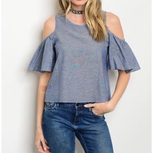 Boutique Tops - Boho Chambray Ruffle Cold Shoulder Top S M L