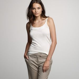 J. Crew Tops - J. Crew Perfect-fit chiffon tank. Ivory Size Small