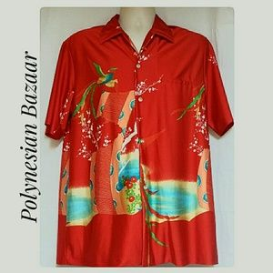 RARE Polynesian Bazaar Asian Print Shirt Red