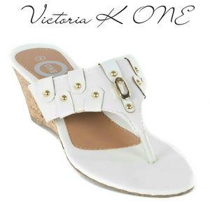 Tory K Women Wedge Thong Sandals, HS-2083, White