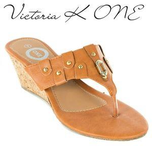 Tory K Women Wedge Thong Sandals, HS-2083, Camel