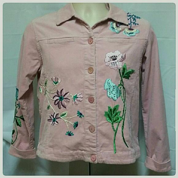 Graff Jackets & Blazers - Graff Embroidered Floral Spring Corduroy Jacket