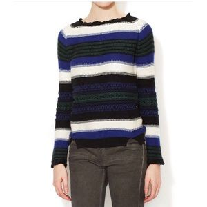 Maje Sweaters - Maje fringe trim stripe sweater blue black Small