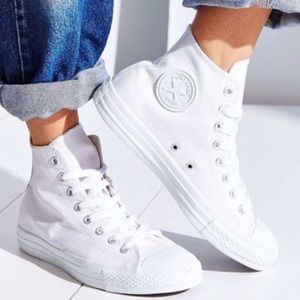 Converse Shoes - 🎉1 HOUR SALE! CONVERSE WOMENS SIZE 10 ALL WHITE