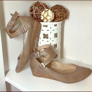 "Restricted Shoes - Beige Ankle Strap 1"" Heels"