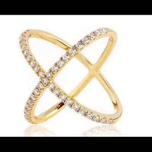 Jewelry - Yellow Gold CZ Crisscross Ring 925 Sterling Silver