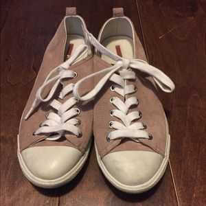 Prada Linea Rossa Shoes - Prada Sneakers-- Size 36-- Pink Suede and White
