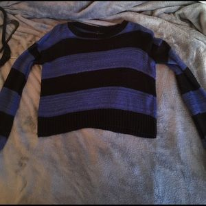 Black and blue striped cropped sweater size small