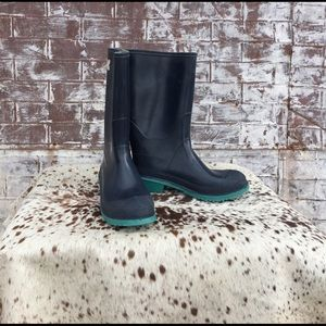 LaCrosse Shoes - Navy and Turquoise LaCrosse Made in USA RAIN BOOTS