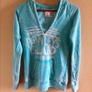 Jackets & Blazers - Light blue jacket with hoodie, v-neck