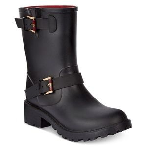 Tommy Hilfiger Shoes - New Tommy Hilfiger Black Moto Rainboots