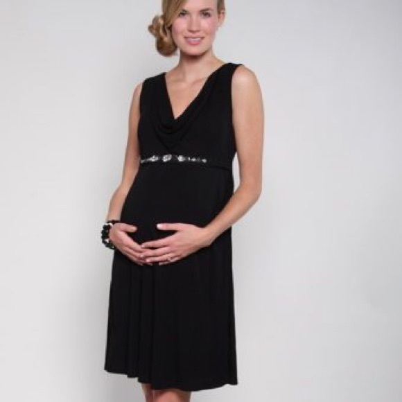 Fierce Mamas Dresses & Skirts - Fierce Mamas Black Cowl Maternity Dress