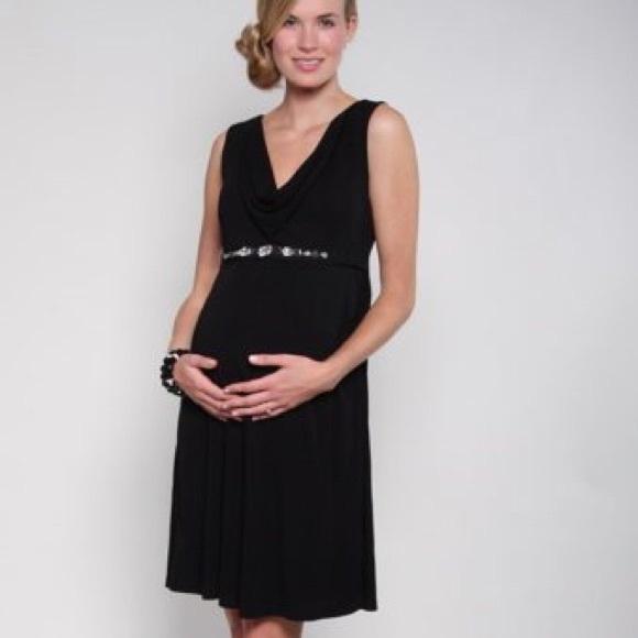 Fierce Mamas Black Cowl Maternity Dress