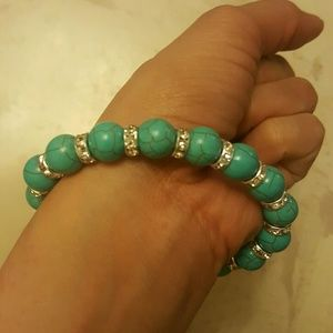 $25 vintage natural stone beads bangle silver turq