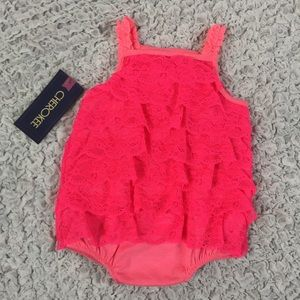 Cherokee Other - NWT Ruffle lace newborn baby romper neon pink