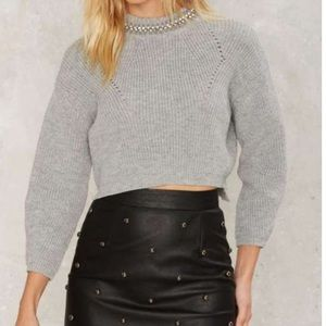 Collar embellished crop top sweater