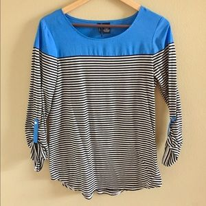 Tops - Blue with black and white stripes top