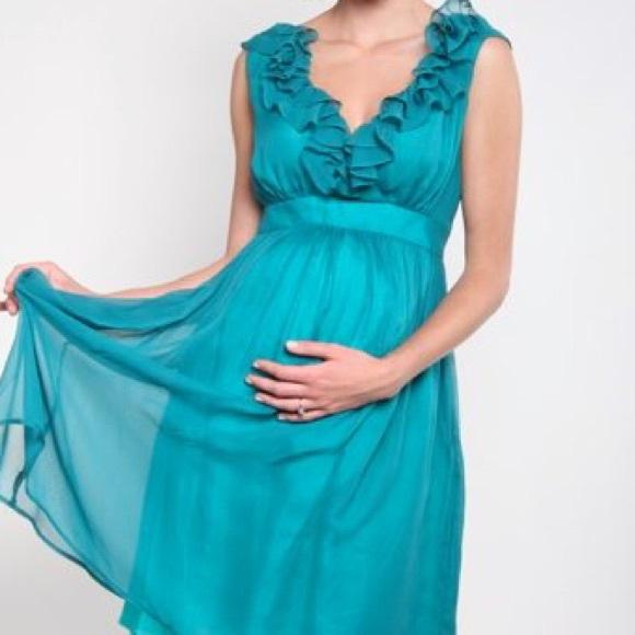 Fierce Mamas Dresses & Skirts - Fierce Mamas Teal Chiffon Maternity Dress