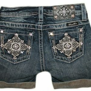 Miss Me Girls (7-14) Victorian Cross Cuffed Shorts