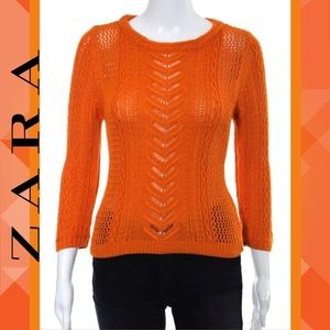 ZARA KNIT Perfect Orange Crew Neck Knit Sweater
