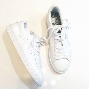 Puma Shoes - Puma White Patent Basket Sneakers