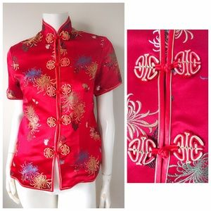 VTG Peony Shanghai RED SILK Floral Chinese Top S