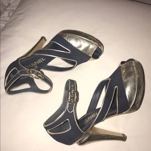 Navy and Gold Authentic Chanel Heels