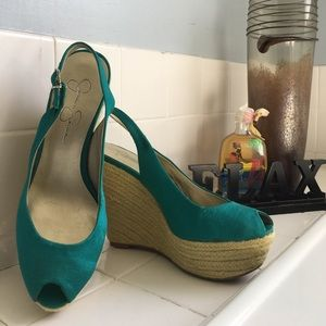 Jessica Simpson Shoes - Jessica Simpson Teal Basket Weave Wedges