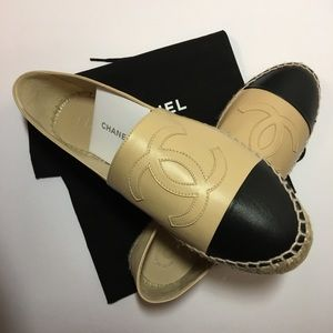CHANEL Shoes - BN Chanel Espadrilles in Beige and Black 38/8