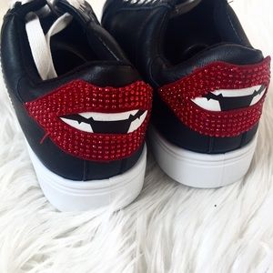Black Sneaker with Lip Bling Backing