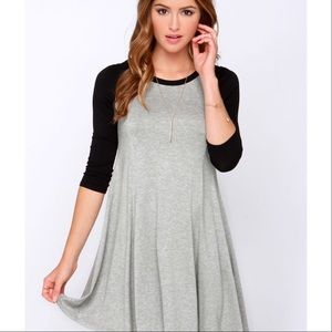 Papaya Dresses & Skirts - Gray Black Raglan Baseball Scoop Neck Swing Dress