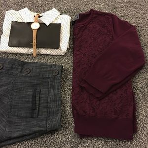 Chaps Sweaters - Plum colored, lace front cardigan - has flaw!