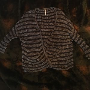 Grey & black stripe open lightweight cardigan