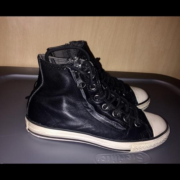 3ce6a25e4a1 Converse Other - Boys Converse John Varvatos Black Leather Hi Tops