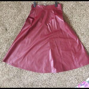 Leather burgundy midi skirt