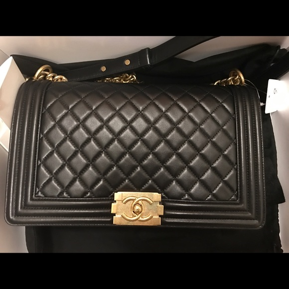 eae304842971 CHANEL Bags | Boy New Medium Black Gold | Poshmark