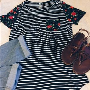 auditions Tops - floral and striped tee