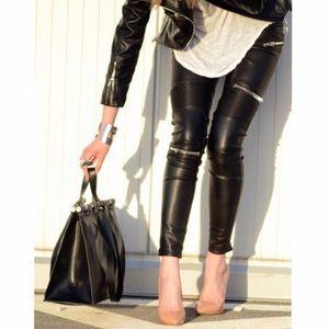 Zara Faux Leather Moto Trousers NWT