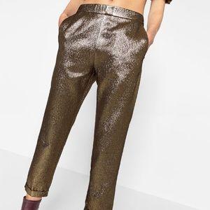 68fdd936 Zara Pants | Shiny Jacquard Trousers | Poshmark