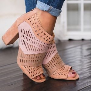 Shoes - 3 Tone Blush Pink Natural Cutout heel bootie