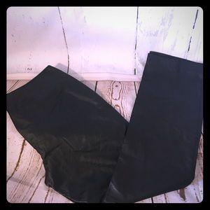 Newport News Pants - Black LEATHER Flat front slimming pants