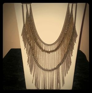  Vintage Multi-Chain Statement Necklace 