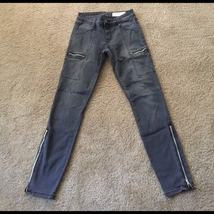 Pistols gray denim jeans with zippers